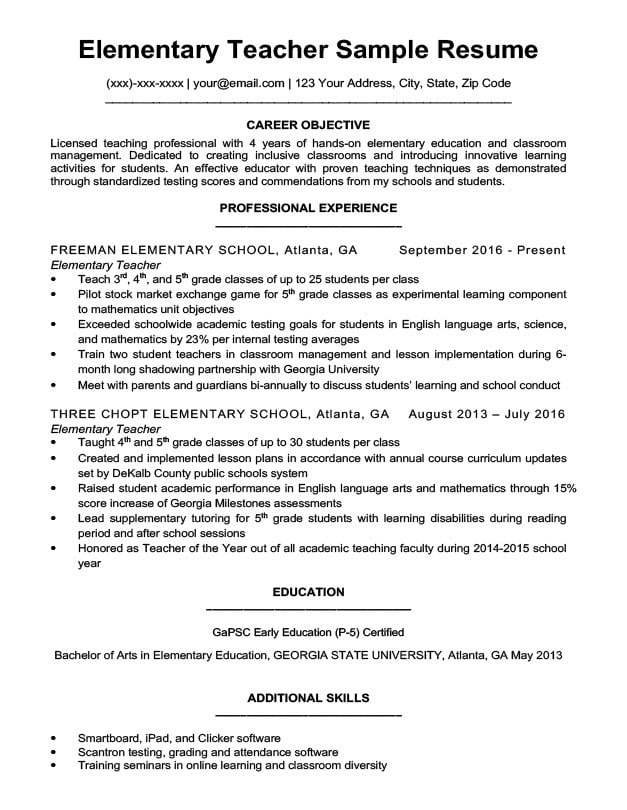 by resume samples teacher format elementary athletic trainer sample army cpol builder Resume Elementary Teacher Resume