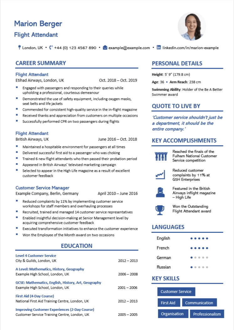 cabin crew cv examples writing guide flight attendants nation attendant resume objective Resume Flight Attendant Resume Objective