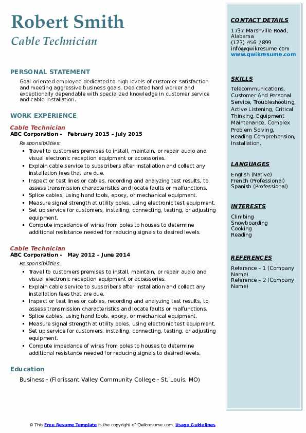 cable technician resume samples qwikresume low voltage sample pdf new grad rn examples Resume Low Voltage Technician Resume Sample