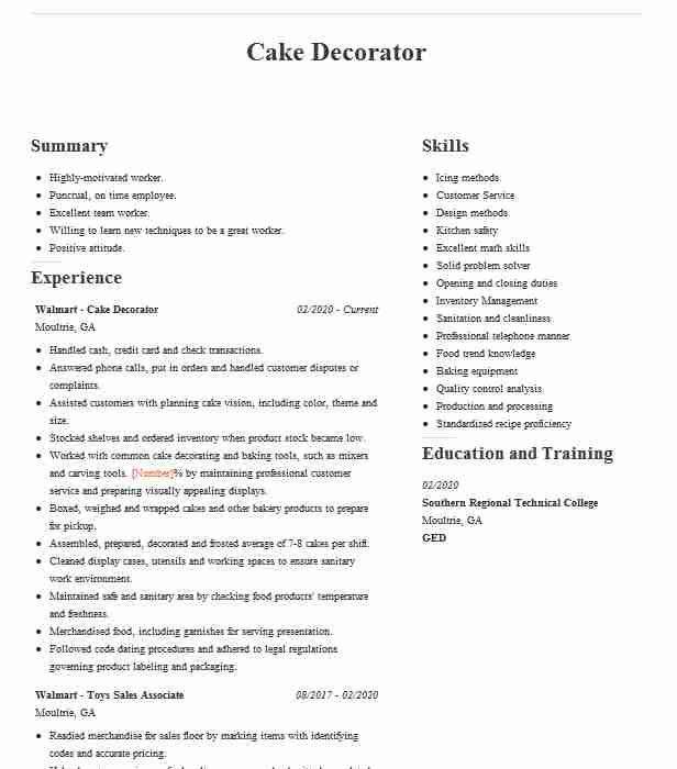 cake decorator resume example safeway grocery store template stevedore cover letter with Resume Cake Decorator Resume Template