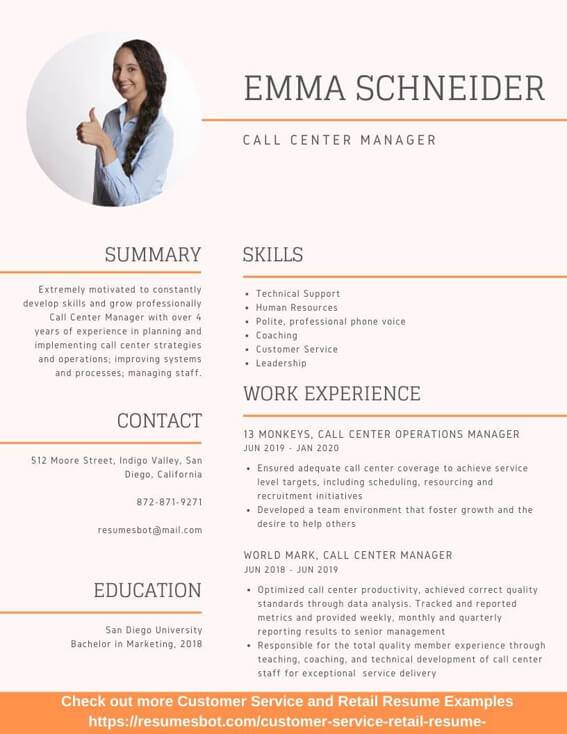 call center manager resume samples and tips pdf resumes bot human voiced example customer Resume Human Voiced Resume Example