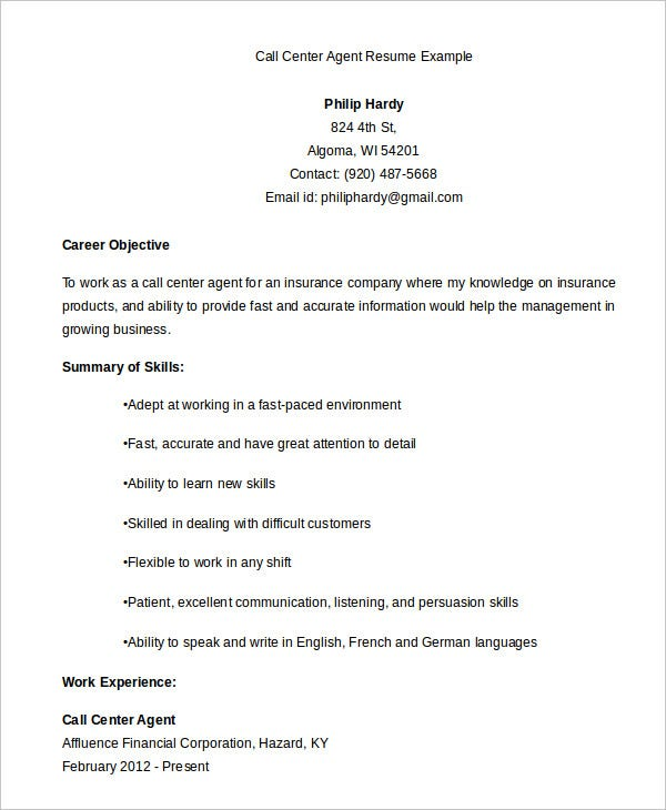call center resume example free word pdf documents premium templates objective agent Resume Call Center Resume Objective