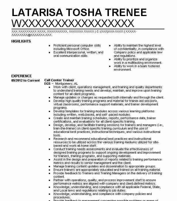 call center trainer resume example resumes livecareer sample time and motivation letter Resume Call Center Resume Sample