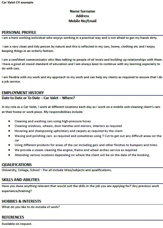 car valet cv example learnist template examples perfect resume attendant sample student Resume Valet Attendant Resume Sample