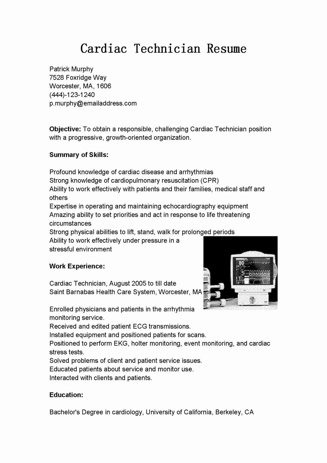 cardiac telemetry nurse resume unique samples technician sample in nursing format Resume Cardiac Technician Resume Format