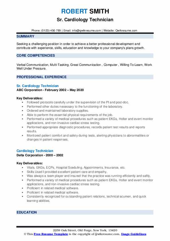 cardiology technician resume samples qwikresume cardiac format pdf core competencies Resume Cardiac Technician Resume Format