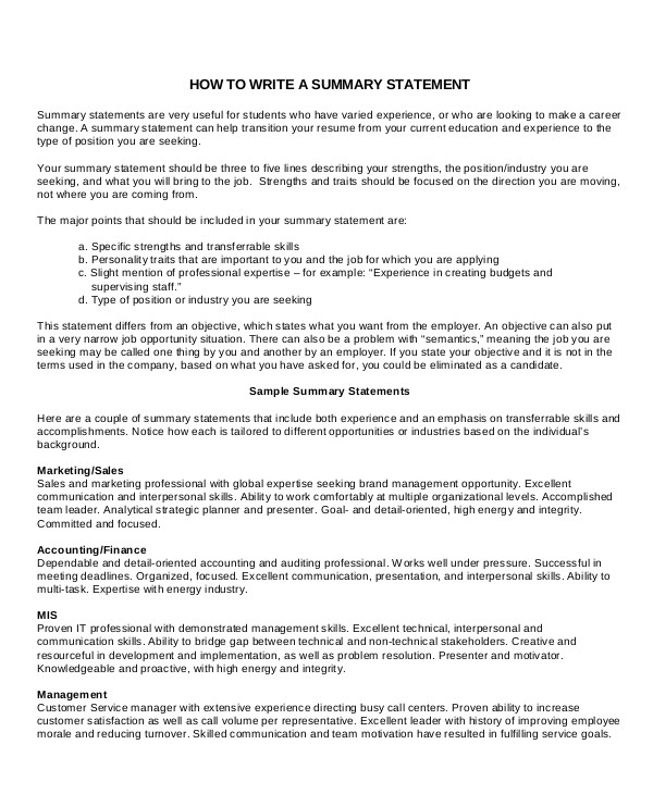 career summary examples pdf brief of your background for resume writing statement parsing Resume Brief Summary Of Your Background For Resume