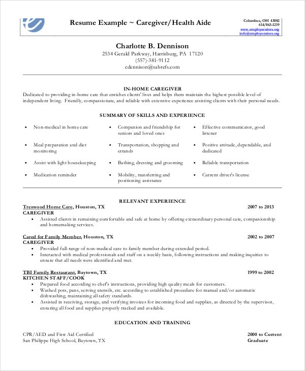caregiver resume example free word pdf documents premium templates objectives examples in Resume Caregiver Objectives Resume Templates Examples