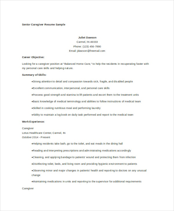 caregiver resume example free word pdf documents premium templates objectives examples Resume Caregiver Objectives Resume Templates Examples
