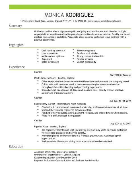cashier cv template samples examples anticipated graduation date on resume full Resume Anticipated Graduation Date On Resume Examples