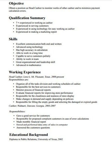 cashier job description resume get free templates samples examples best summary for Resume Best Job Summary For Resume