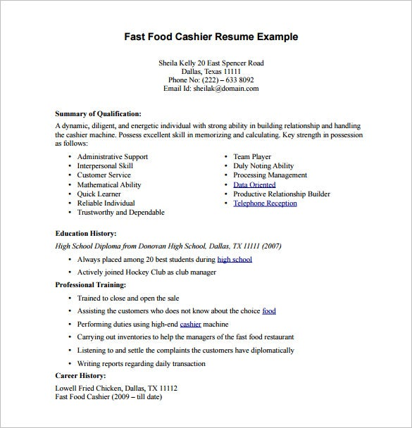 cashier resume template free word excel pdf format downlaod premium templates fast food Resume Cashier Resume Word Format