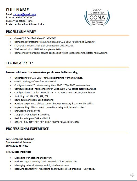 ccna resume samples top templates in for network engineer with fresher sample pipefitter Resume Resume For Network Engineer With Ccna Fresher
