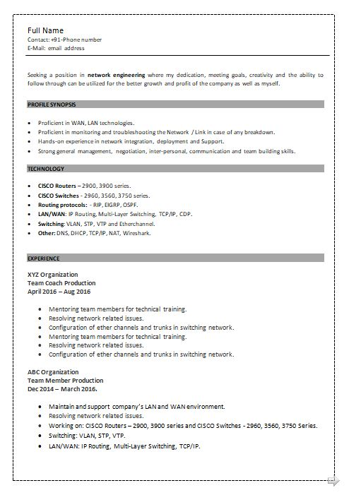 ccna resume samples top templates in for network engineer with fresher sample volunteer Resume Resume For Network Engineer With Ccna Fresher
