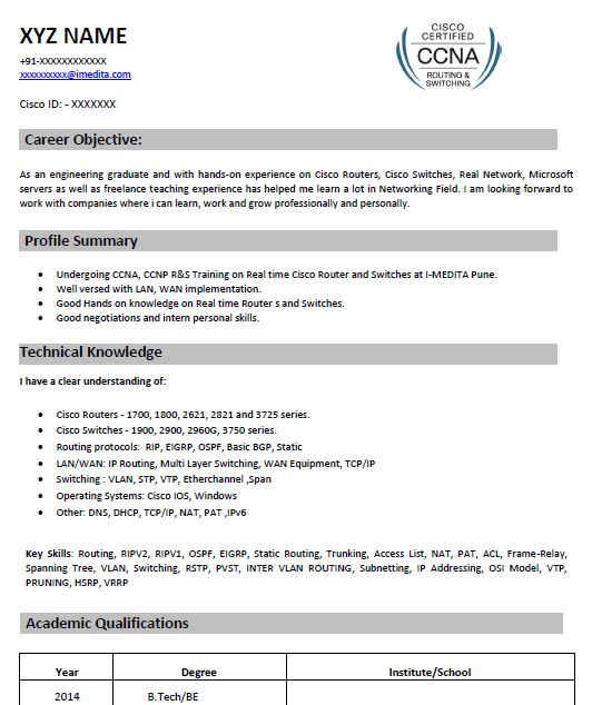 ccna resume samples top templates in for network engineer with fresher smaple volunteer Resume Resume For Network Engineer With Ccna Fresher