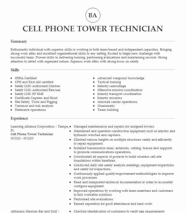cell tower technician resume example new age wireless mammography examples various Resume Cell Tower Technician Resume