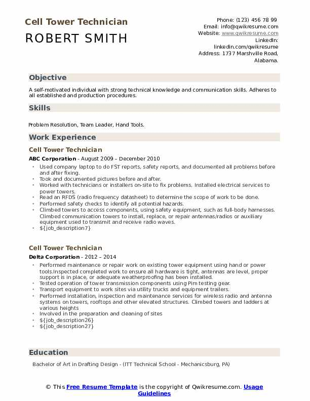 cell tower technician resume samples qwikresume pdf fraud analyst brand ambassador job Resume Cell Tower Technician Resume