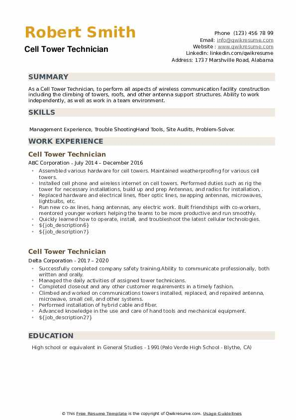 cell tower technician resume samples qwikresume pdf uncc template medication examples Resume Cell Tower Technician Resume
