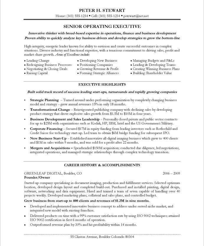ceo coo page1 executive resume marketing uh career services catchy objective for most Resume Uh Career Services Resume