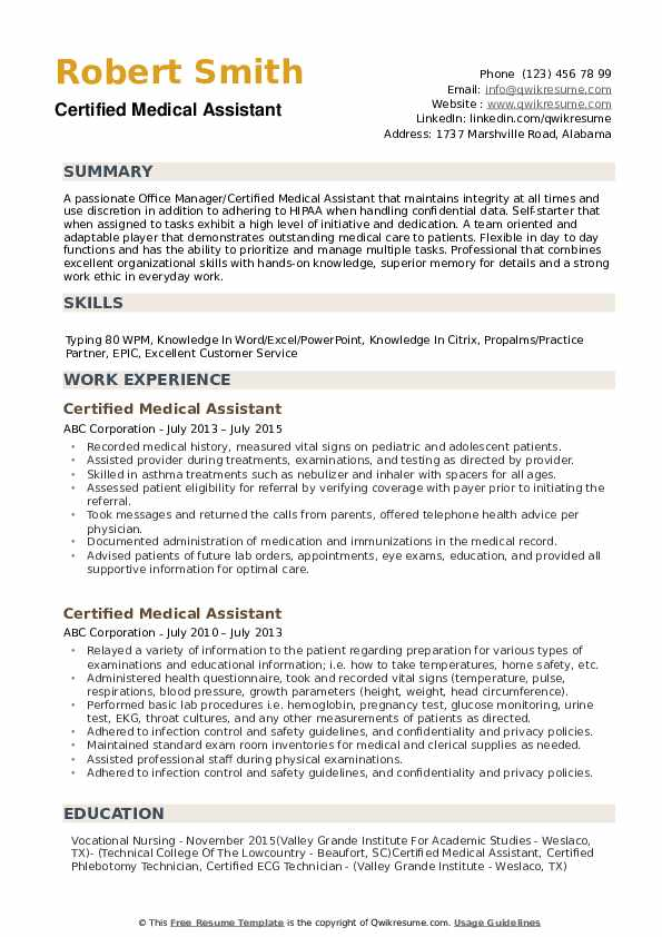 certified medical assistant resume samples qwikresume objective for example pdf format Resume Objective For Medical Assistant Resume Example
