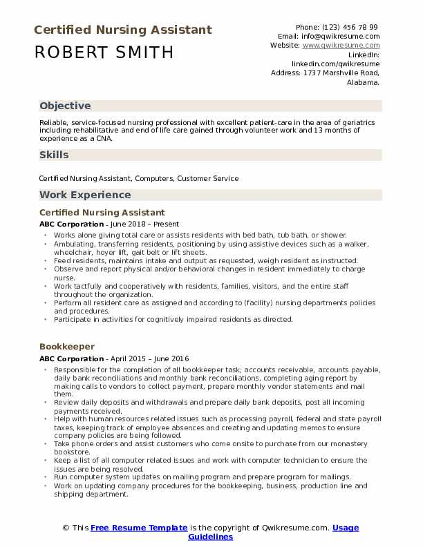certified nursing assistant resume samples qwikresume cna skills and qualifications pdf Resume Cna Resume Skills And Qualifications