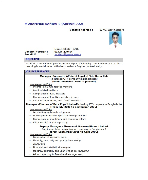 chartered accountant resume template free word pdf documents premium templates format Resume Chartered Accountant Resume Format Download