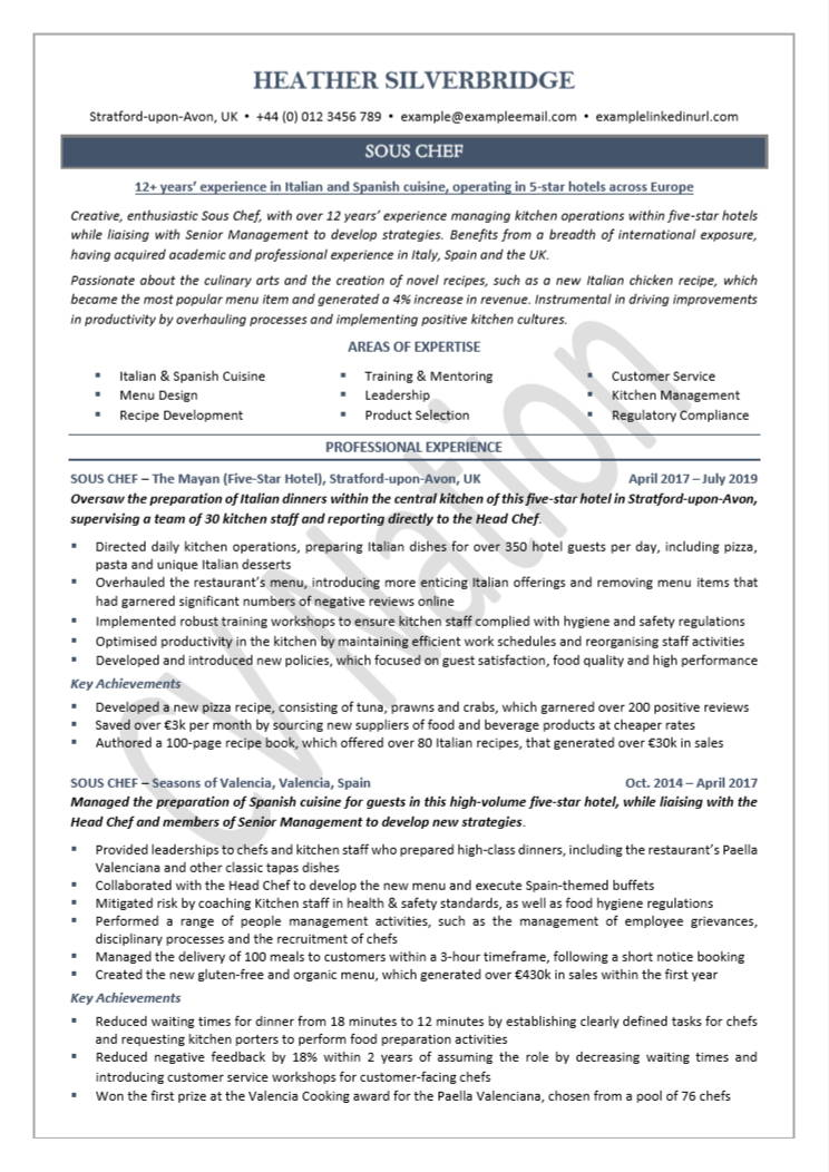 chef cv example writing guide helpful illustrations nation experienced resume front desk Resume Experienced Chef Resume