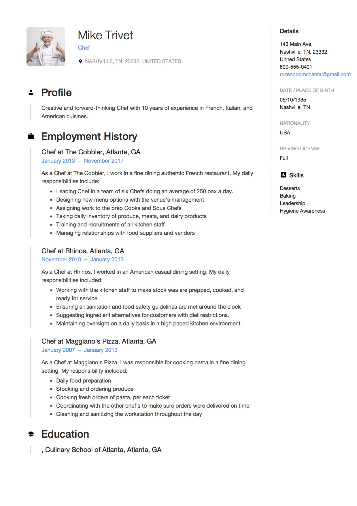 chef resume writing guide free templates pdf experienced mike trivet nursing examples Resume Experienced Chef Resume