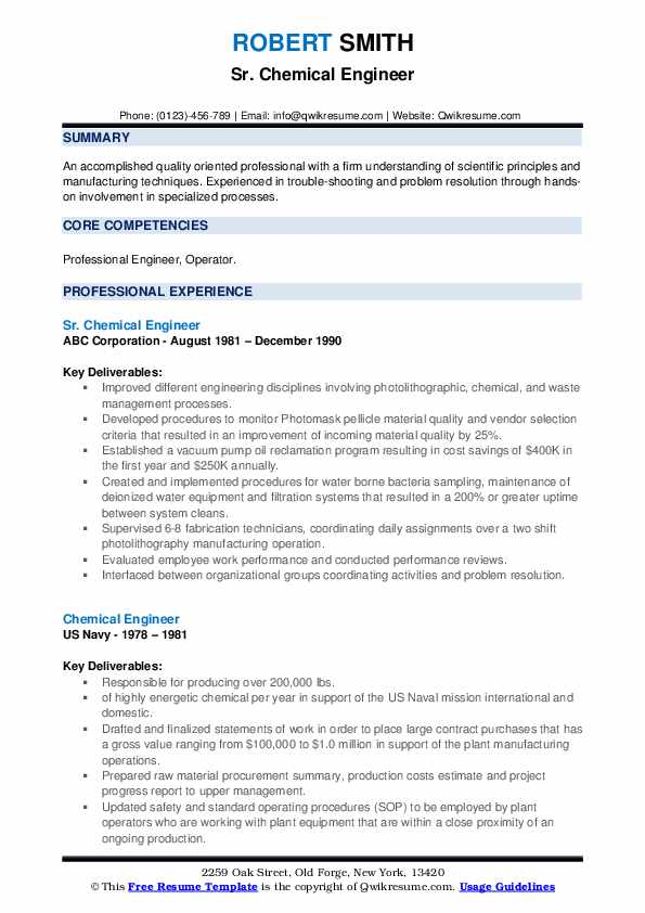 chemical engineer resume samples qwikresume model pdf demo images collections Resume Chemical Engineer Resume Model