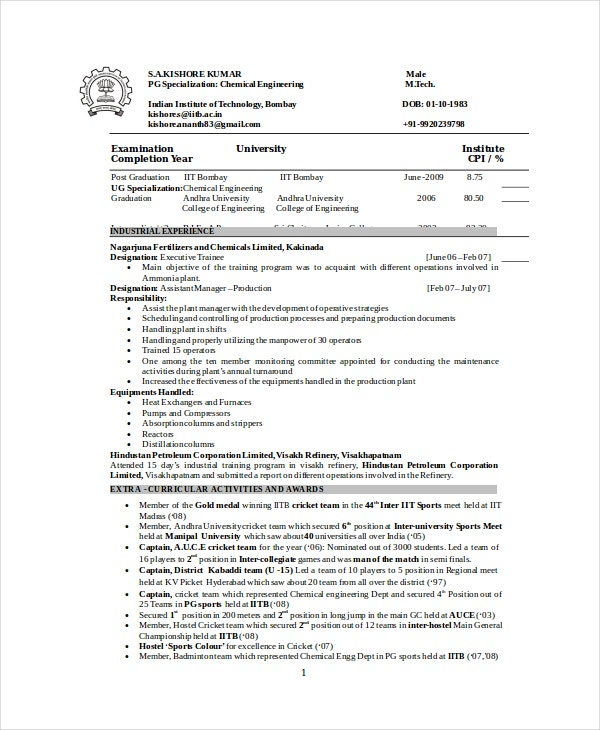 chemical engineer resume template free word pdf documents premium templates model for Resume Chemical Engineer Resume Model