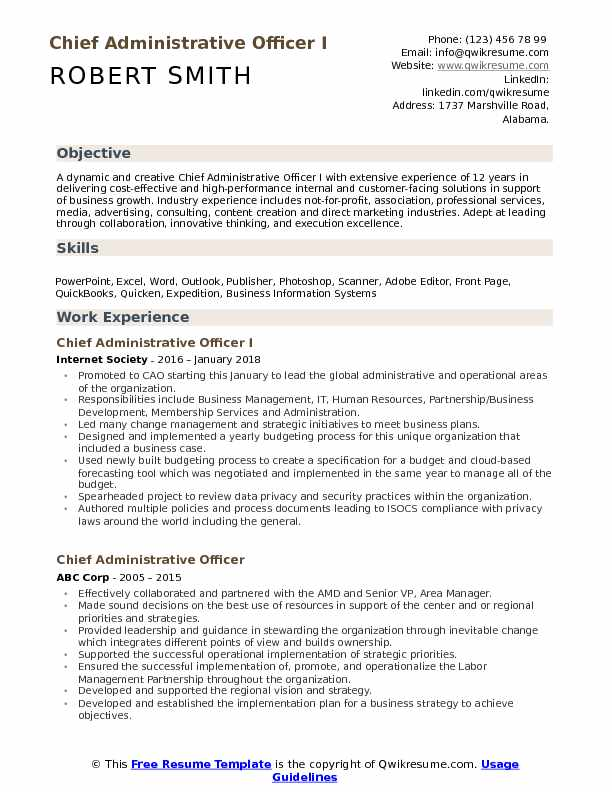 chief administrative officer resume samples qwikresume format for pdf business Resume Resume Format For Administrative Officer