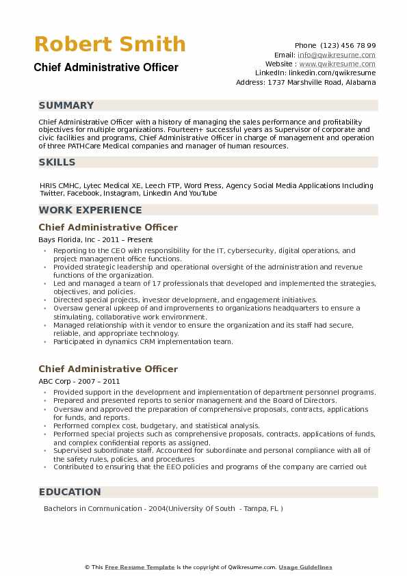 chief administrative officer resume samples qwikresume format for pdf hardware accounts Resume Resume Format For Administrative Officer