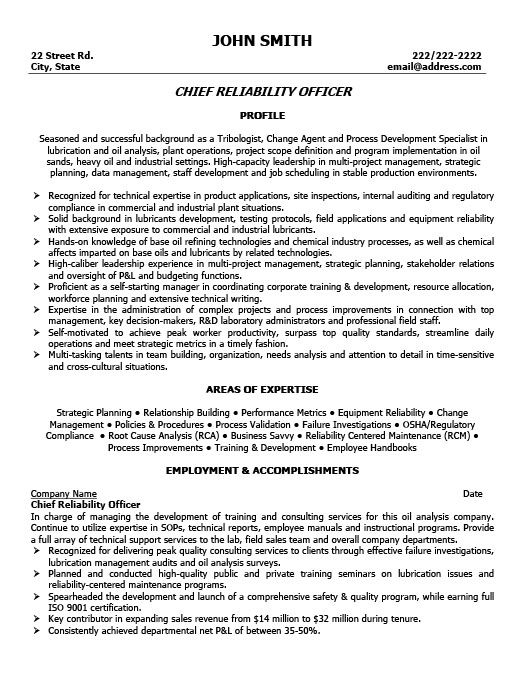 chief reliability officer resume template premium samples example engineering examples Resume Production Officer Resume Sample