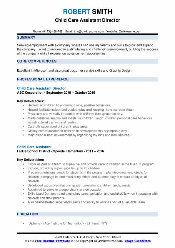 child care assistant resume samples qwikresume director pdf objective for specific job Resume Child Care Assistant Director Resume