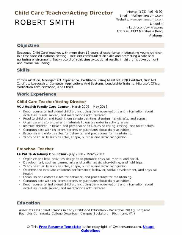 child care teacher resume samples qwikresume assistant director pdf empty template word Resume Child Care Assistant Director Resume