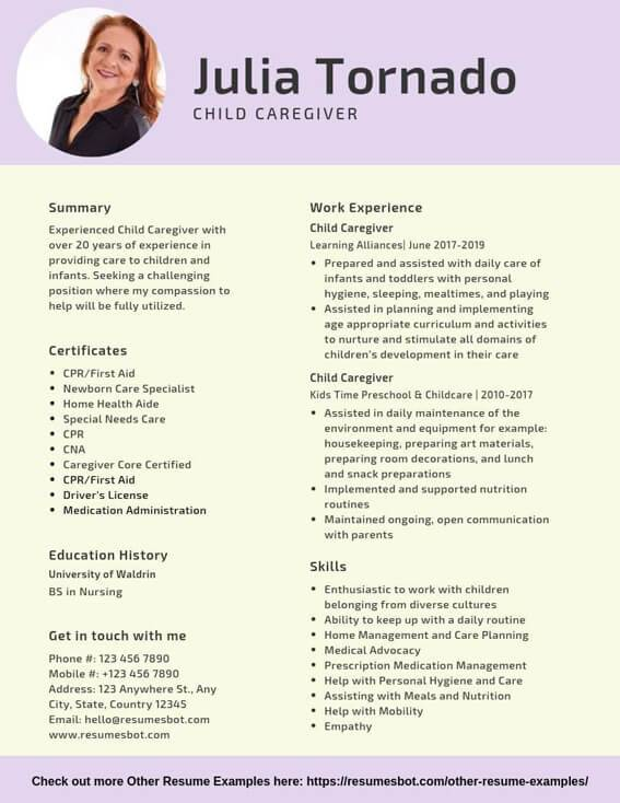 child caregiver resume samples templates pdf resumes bot objectives examples example Resume Caregiver Objectives Resume Templates Examples