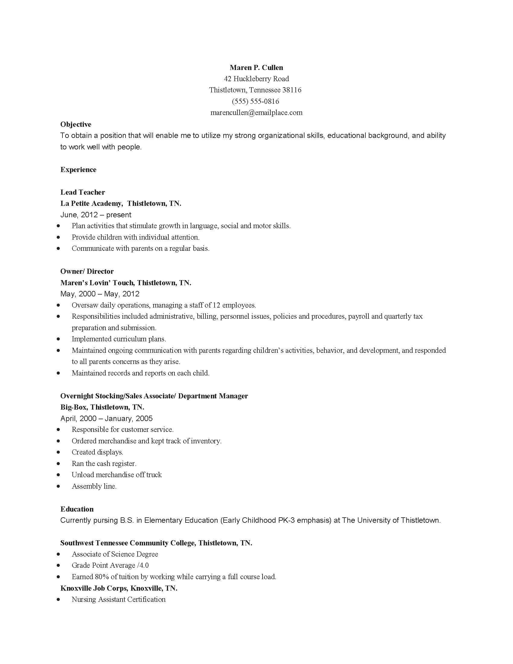 childhood education child care resume sample best examples assistant for educator Resume Early Childhood Education Assistant Resume