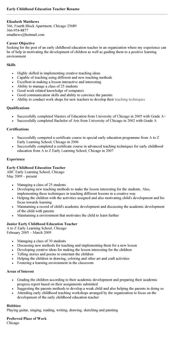 childhood education sample resume activities teachers free templates for cover letter Resume Free Resume Templates For Early Childhood Education