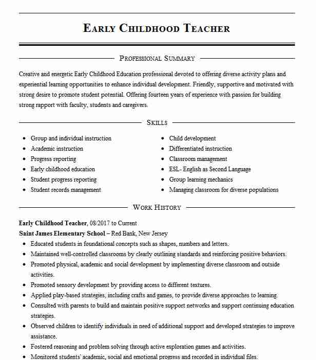childhood teacher resume example resumes misc livecareer free templates for education Resume Free Resume Templates For Early Childhood Education