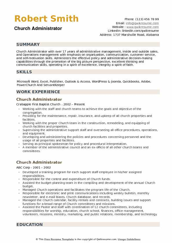 church administrator resume samples qwikresume ministry objective examples pdf montessori Resume Ministry Objective Resume Examples