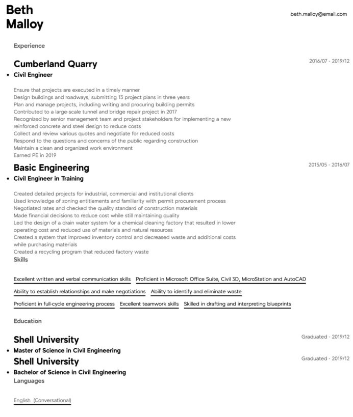 civil engineer resume examples writing tips free guide io assistant donor relations ui Resume Assistant Civil Engineer Resume