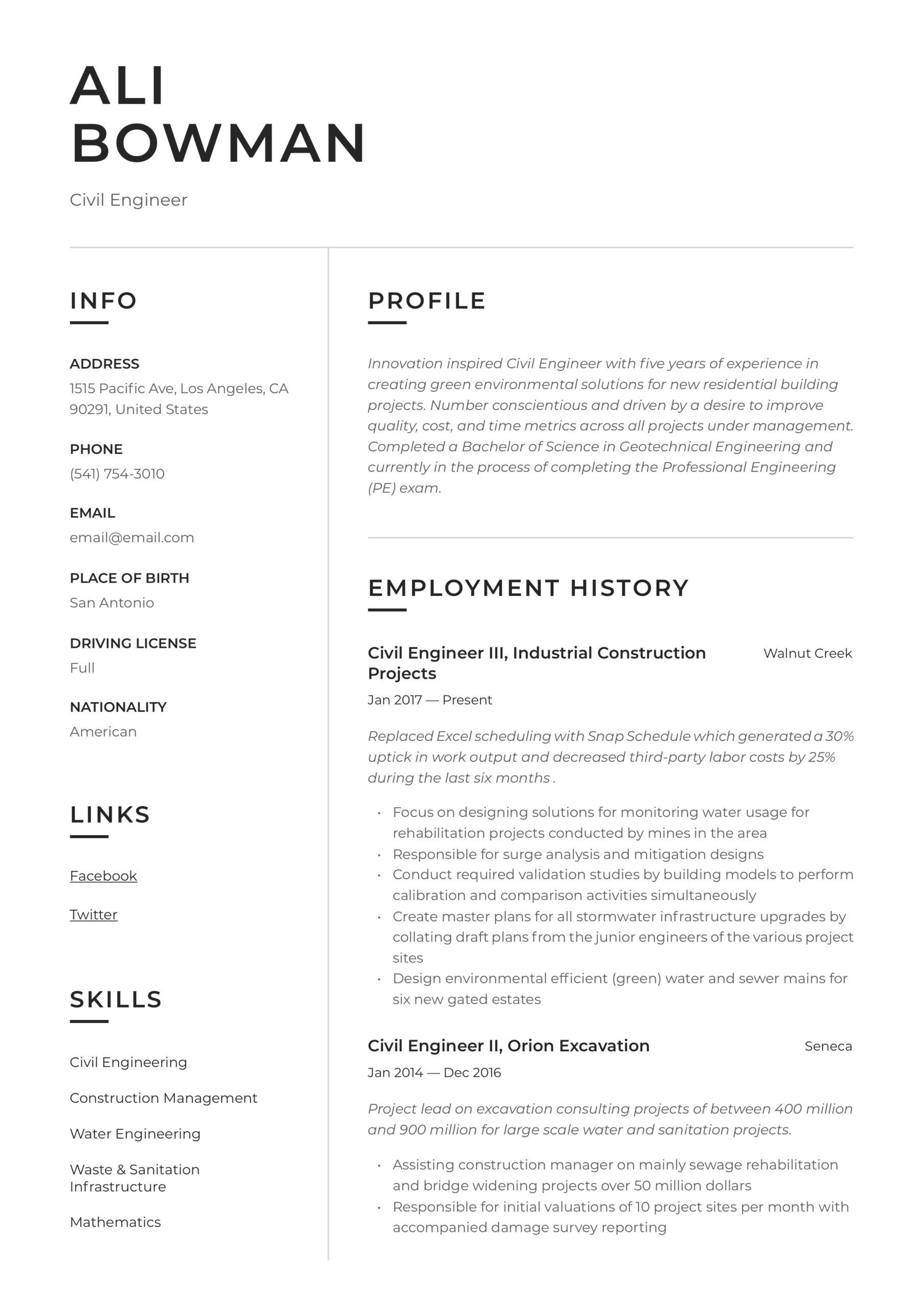 civil engineer resume writing guide templates job description for cable technician sample Resume Civil Engineer Job Description For Resume