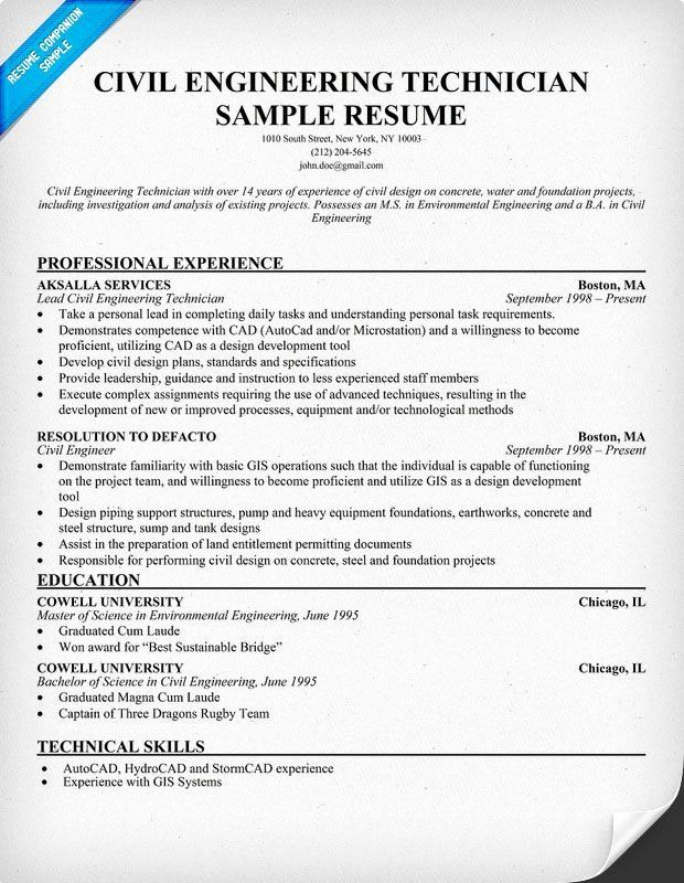 civil engineering internship resume awesome technician panion in examples medical Resume Civil Engineering Technician Resume