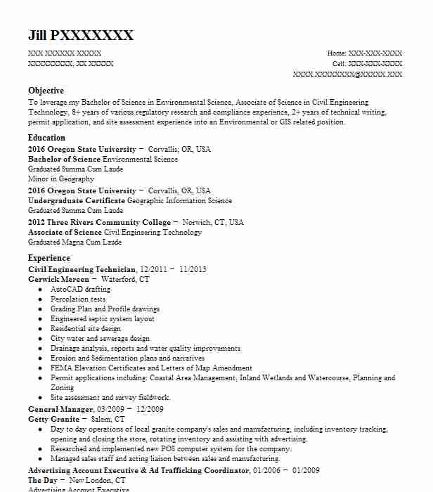 civil engineering lab technician resume example envirotech consulting investment banking Resume Civil Engineering Technician Resume