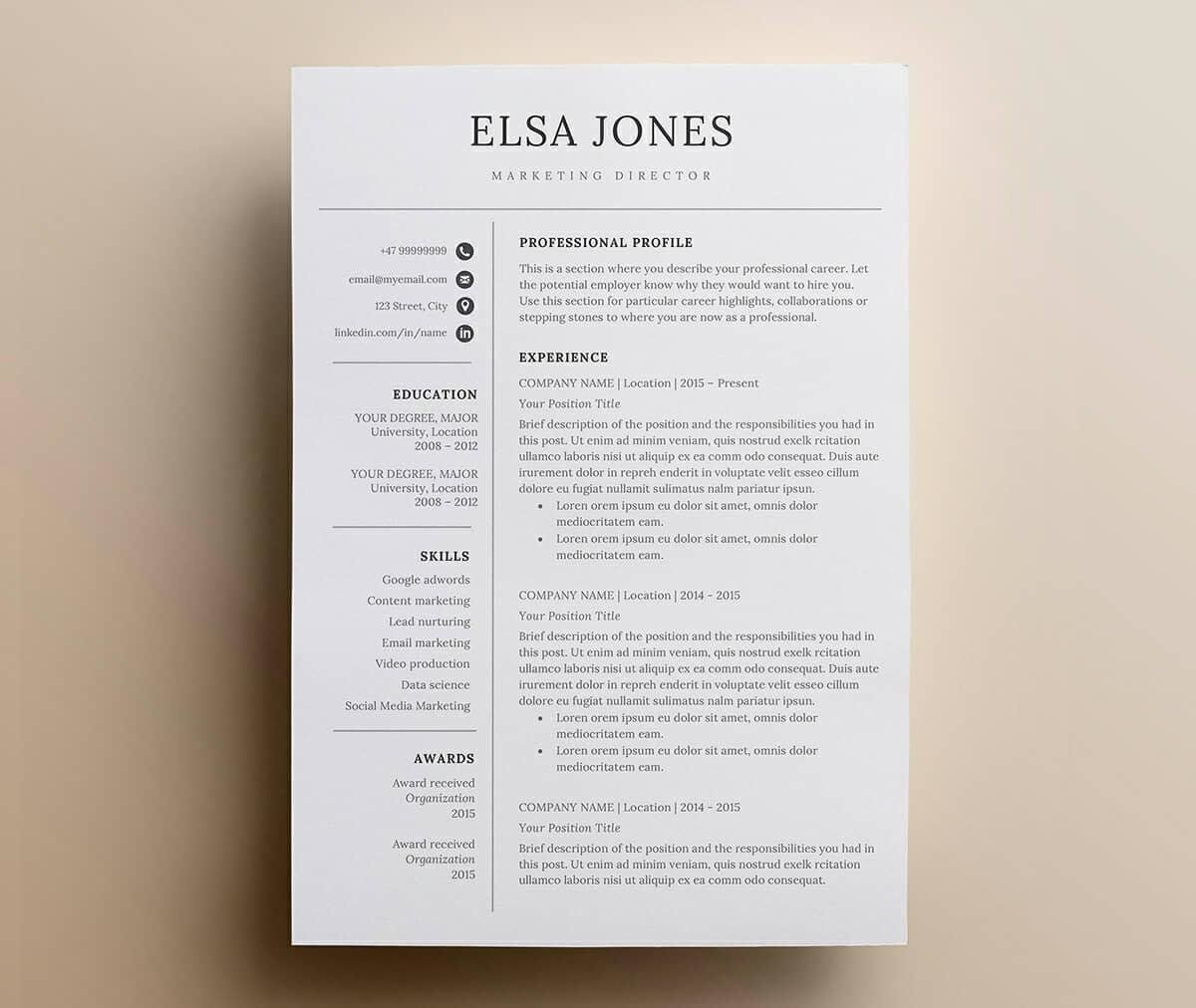 clean basic resume example with elegant font template modern finance executive summary Resume Resume Elegant Template