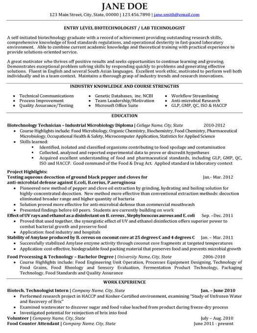 click here to this biotechnologist resume template http resumetemplates101 examples Resume Biotechnology Skills For Resume