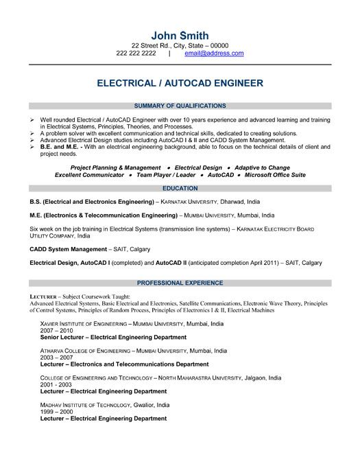 click here to this electrical engineer resume template http resu professional samples Resume Electrical Design Engineer Resume Sample