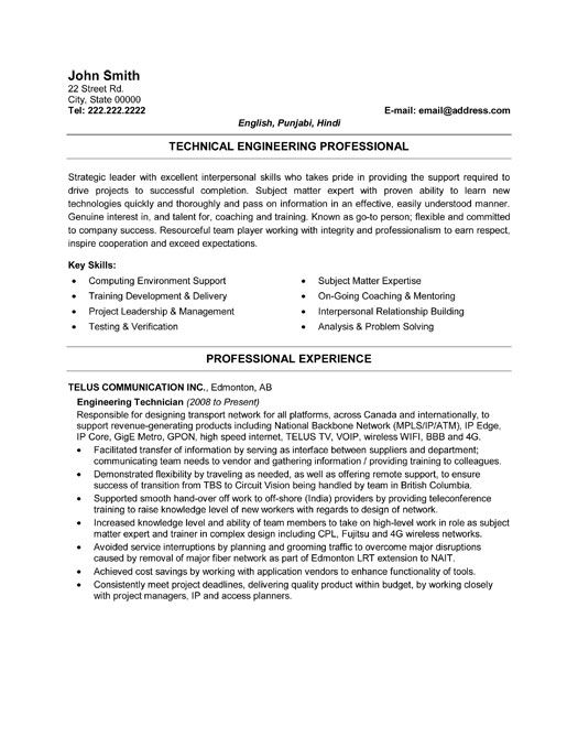 click here to this engineering technician resume template http resumetemplates1 templates Resume Instrument Technician Resume