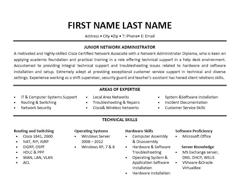 click here to this junior network administrator resume template http resumetemplates Resume Jr Network Administrator Resume