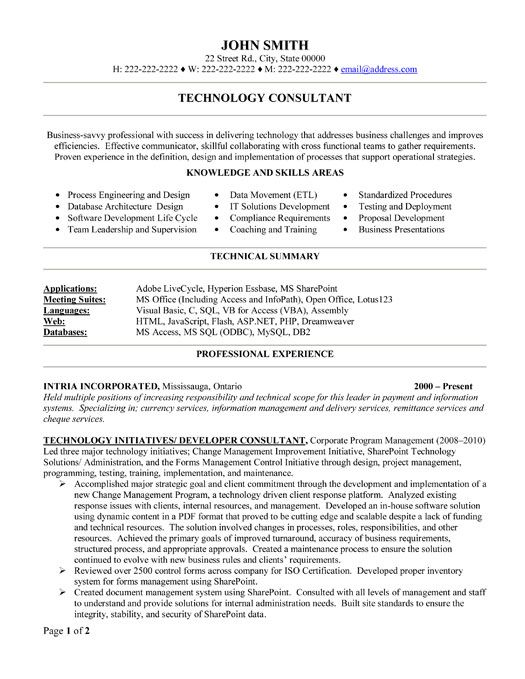 click here to this technology consultant resume template http resumetemplates101 Resume Technology Consultant Resume Examples